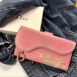 DIOR Pink Embroidered Long D Charm Saddle Wallet